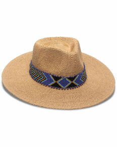 Nikki Beach Women's Toast Indira Western Straw Rancher Hat , Tan, hi-res