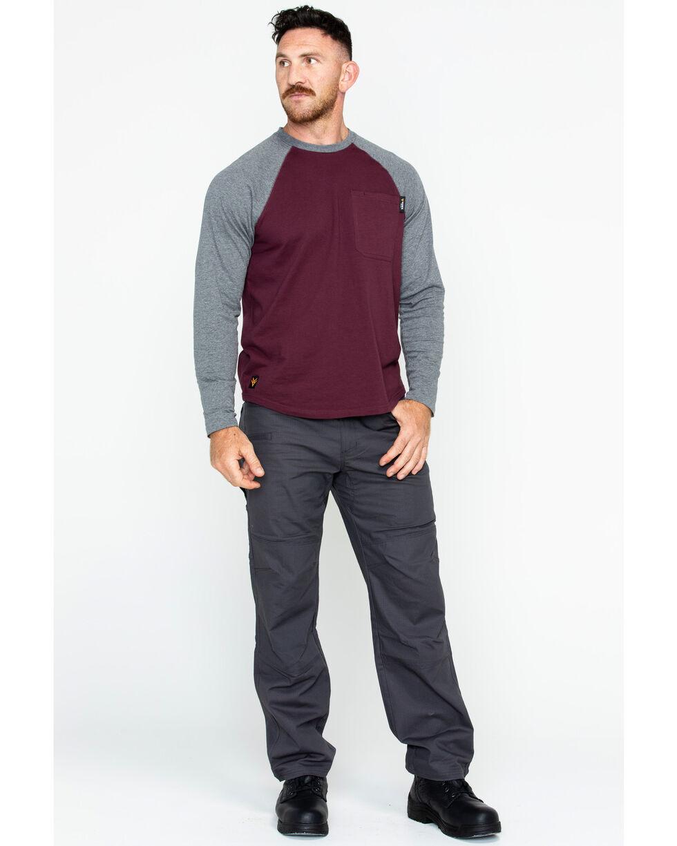 Hawx® Men's Solid Long Sleeve Baseball Raglan Crew Work Shirt , Burgundy, hi-res