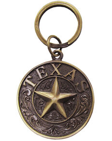 BB Ranch Brass Texas Star Keychain, Bronze, hi-res