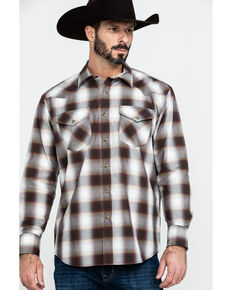 Pendleton Men's Frontier Long Sleeve Plaid Shirt , Brown, hi-res