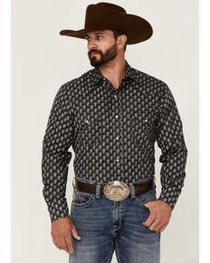 Roper Men's Black & Cream Paisley Geo Print Long Sleeve Snap Western Shirt , Blue, hi-res