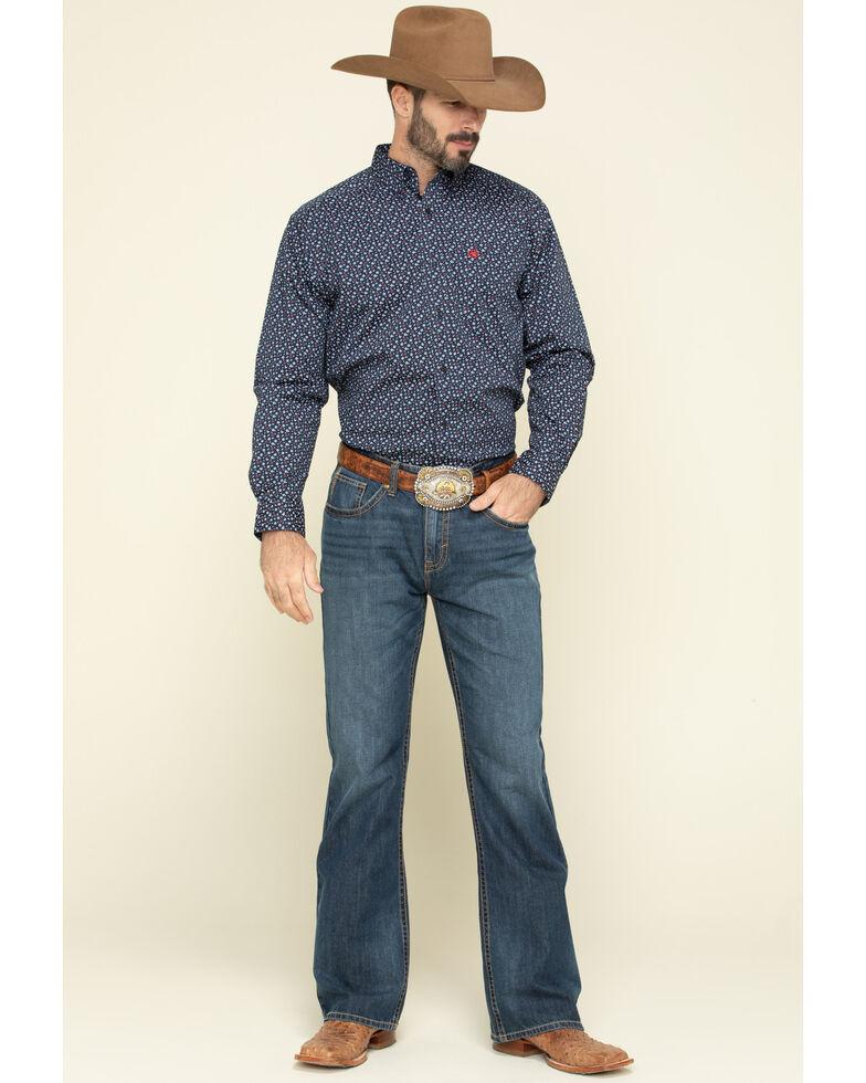 Ariat Men's Sunnyvale Floral Print Long Sleeve Western Shirt - Big  , Black, hi-res