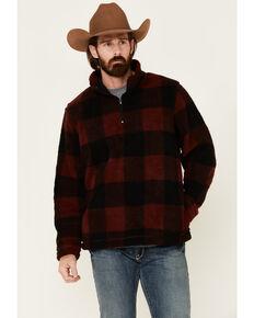 Wrangler Men's Burgundy Large Plaid Sherpa 1/4 Zip Pullover , Burgundy, hi-res