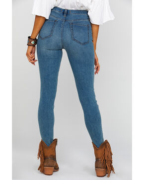 Free People Women's Indigo Long & Lean Light Slim Skinny Jeans , Blue, hi-res