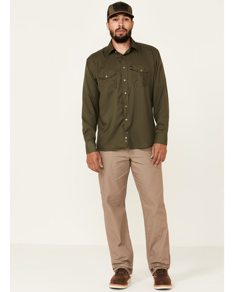 HOOey Men's Solid Olive Habitat Sol Long Sleeve Snap Western Shirt , Olive, hi-res