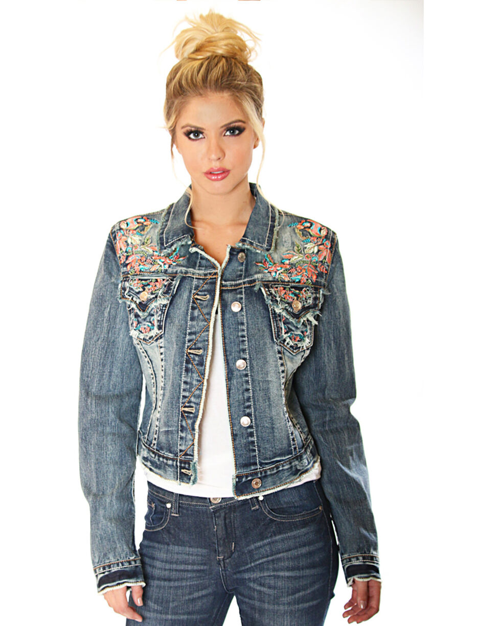 Grace In La Women S Floral Embroidery Denim Jacket Country Outfitter