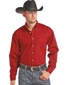Panhandle Men's Red Striped Print Western Shirt , Red, hi-res