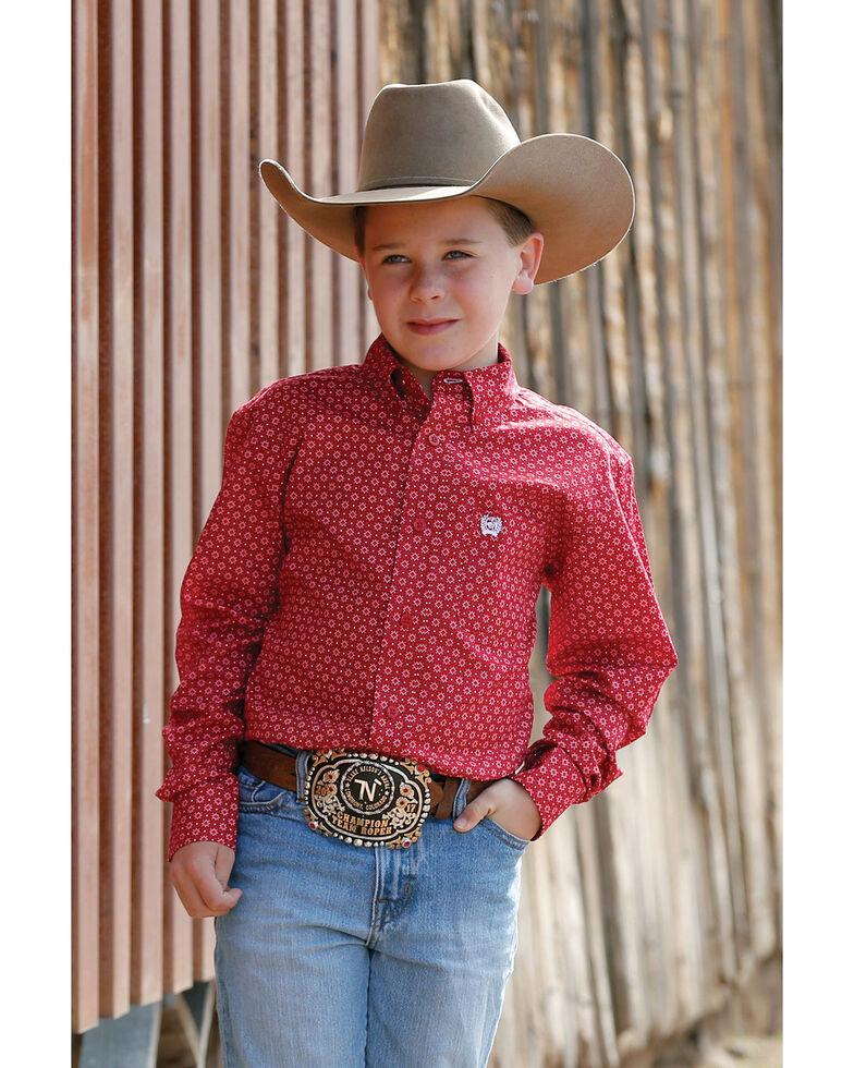 Cinch Boys' Red Geo Print Long Sleeve Western Shirt , Red, hi-res