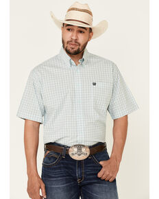 Cinch Men's Light Blue Stretch Small Plaid Short Sleeve Western Shirt , Light Blue, hi-res