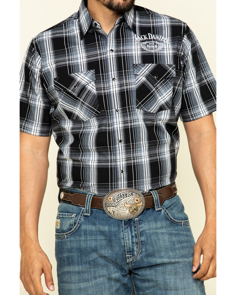 Jack Daniel's Men's Black Med Plaid Short Sleeve Western Shirt , Black, hi-res