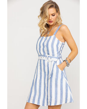 Miss Me Women's Blue Stripe Belted Button Dress , Multi, hi-res
