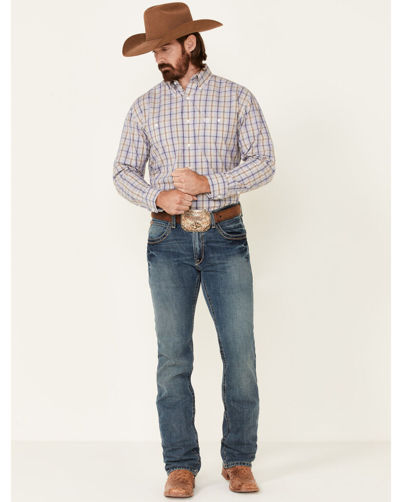 George Strait By Wrangler Men's Navy Plaid Long Sleeve Button-Down Western Shirt , Red, hi-res