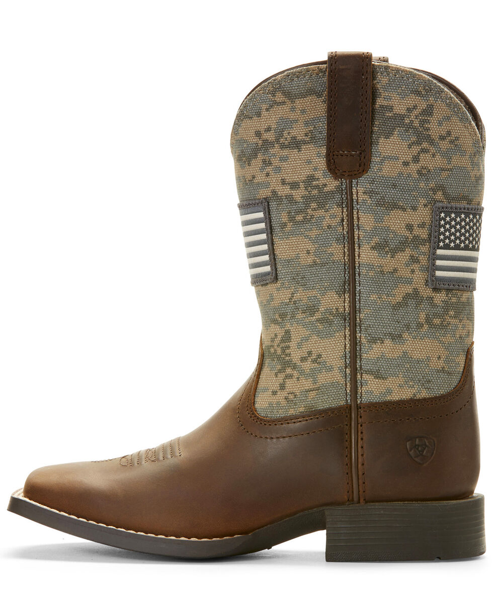 Ariat Kid's Youth Patriot American Flag Western Boots - Wide Square Toe, Brown, hi-res