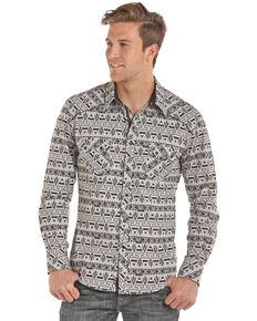 Rock & Roll Cowboy Men's Aztec Chambray Print Long Sleeve Western Shirt , Black, hi-res