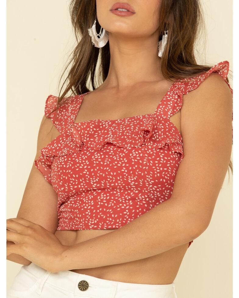 Very J Women's Ditzy Floral Print Ruffle Shoulder Crop Top, Rust Copper, hi-res