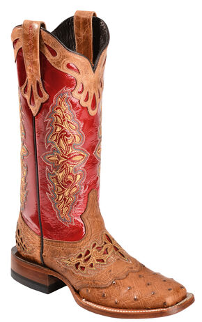 Lucchese 1883 Amberlyn Full Quill Ostrich Cowgirl Boots, Tan, hi-res