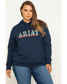 Ariat Women's Navy R.E.A.L. Serape Logo Hoodie -Plus, Navy, hi-res
