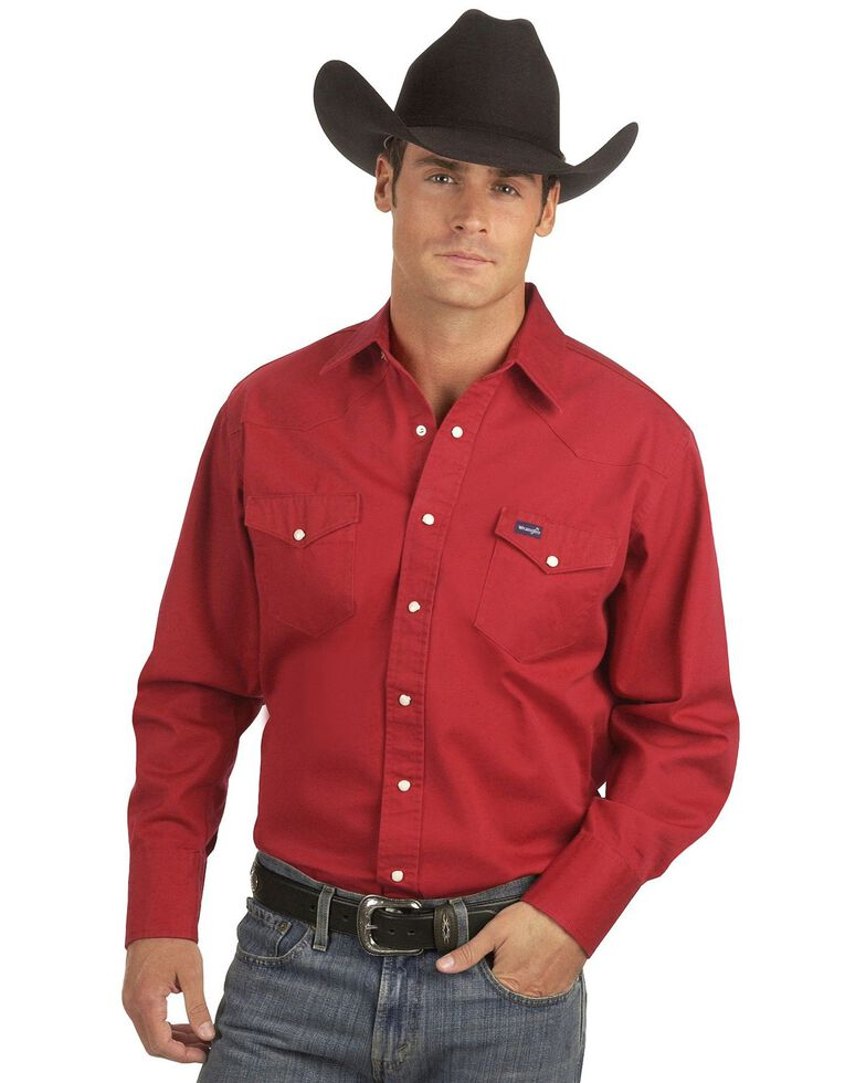 Wrangler Men's Solid Cowboy Cut Firm Finish Long Sleeve Work Shirt, Red, hi-res