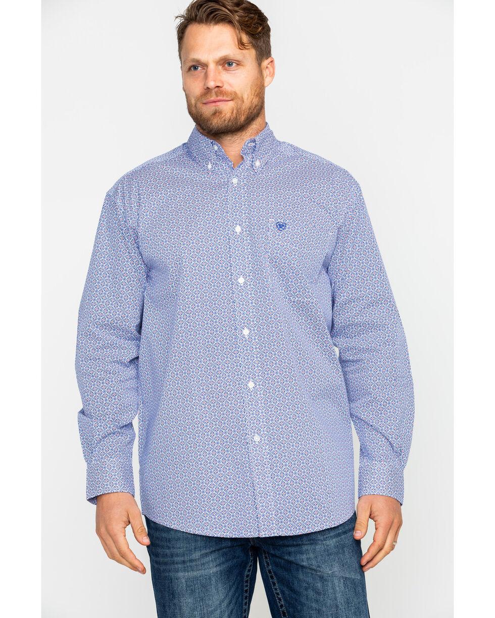 Ariat Men's Gascon Stretch Print Long Sleeve Western Shirt , White, hi-res