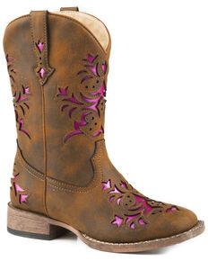 Roper Girls' Lola Brown Metallic Underlay Cowgirl Boots - Square Toe, Brown, hi-res