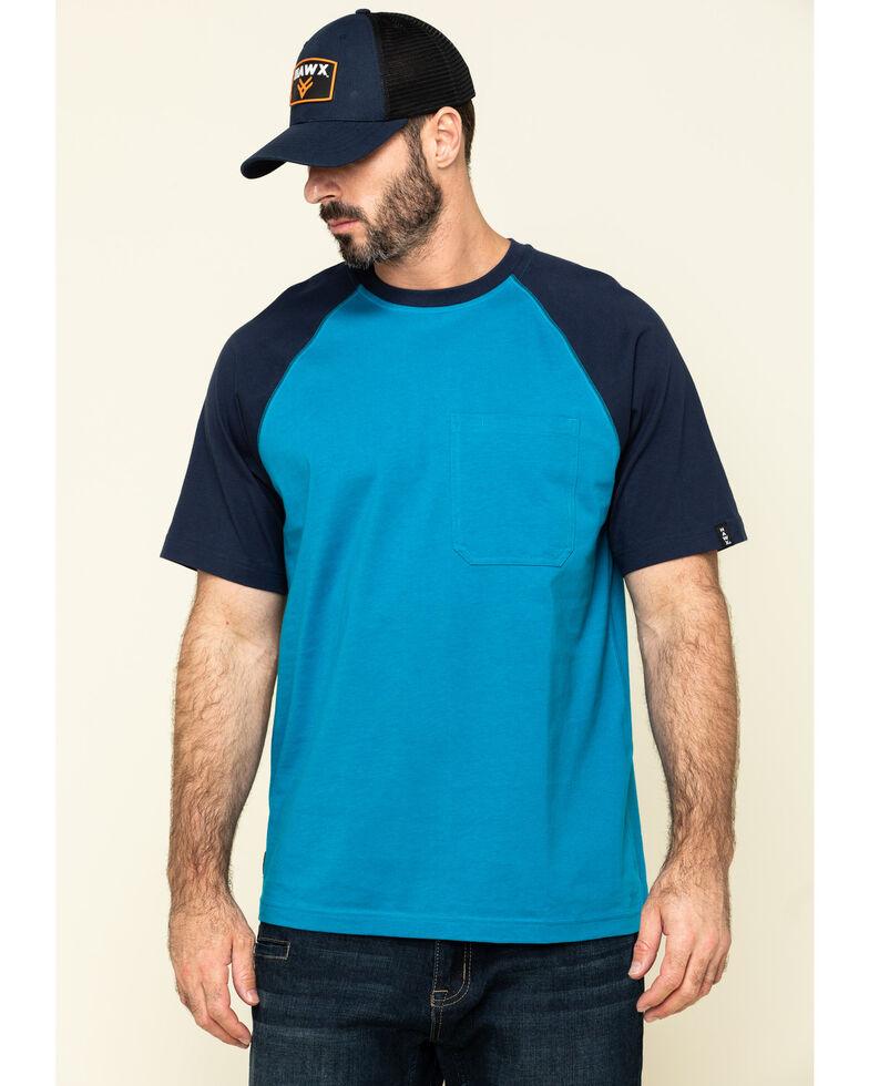 Hawx Men's Teal Midland Short Sleeve Baseball Work T-Shirt , Teal, hi-res