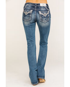 "Miss Me Women's Embellished Silver Border Chloe 34"" Bootcut Jeans, Blue, hi-res"
