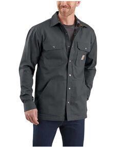 Carhartt Men's Solid Grey Ripstop Flannel-Lined Snap-Front Work Shirt Jacket , No Color, hi-res