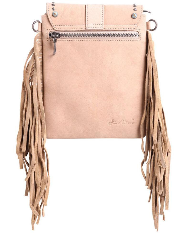Montana Silversmiths Women's Pearl Concho Fringe Crossbody Bag, Tan, hi-res