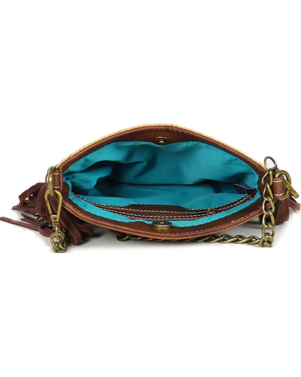 Way West Women's Floral Tooled Fringe Shoulder Bag, Tan, hi-res