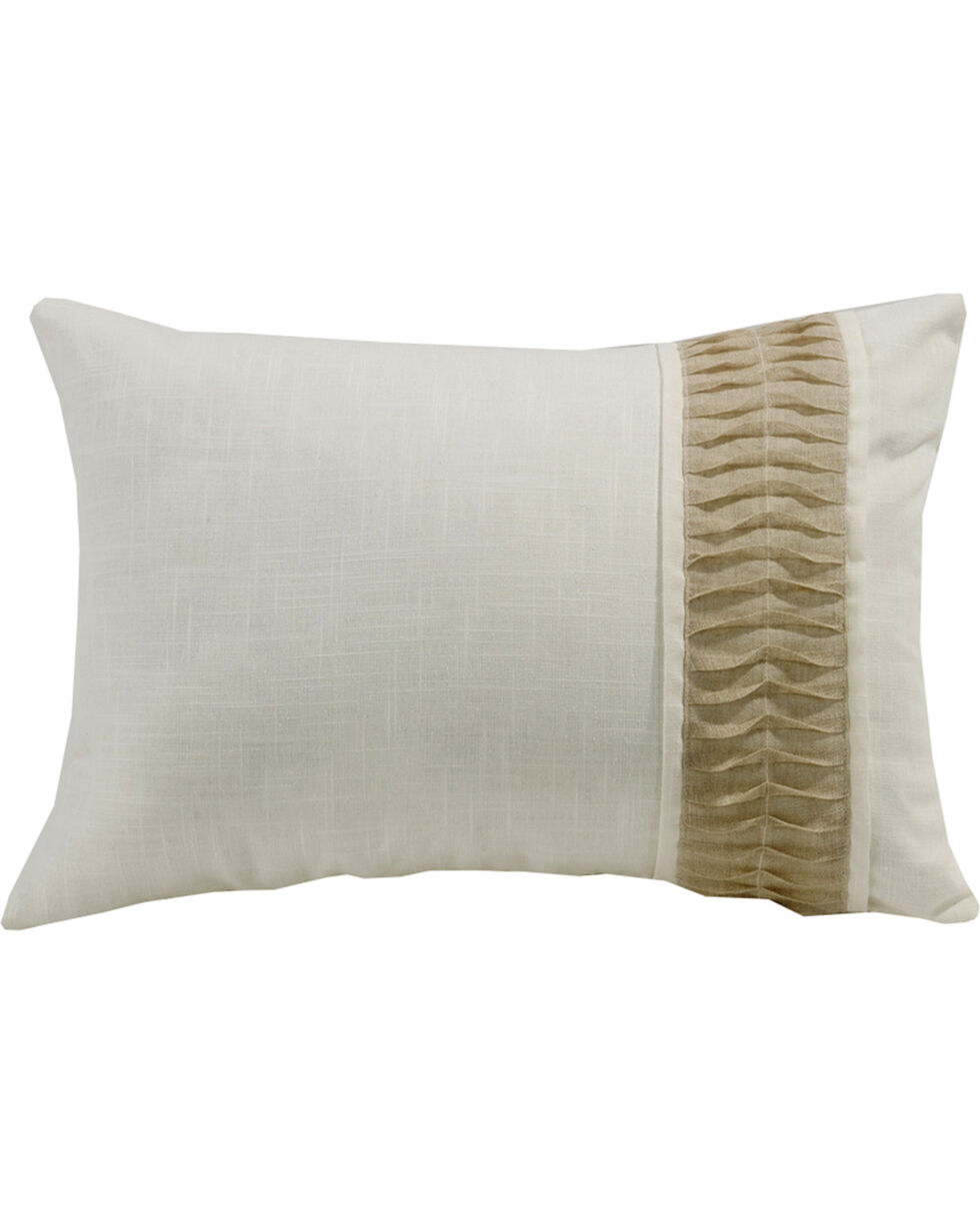HiEnd Accents White Linen Pillow With Rouching Detail, Cream, hi-res