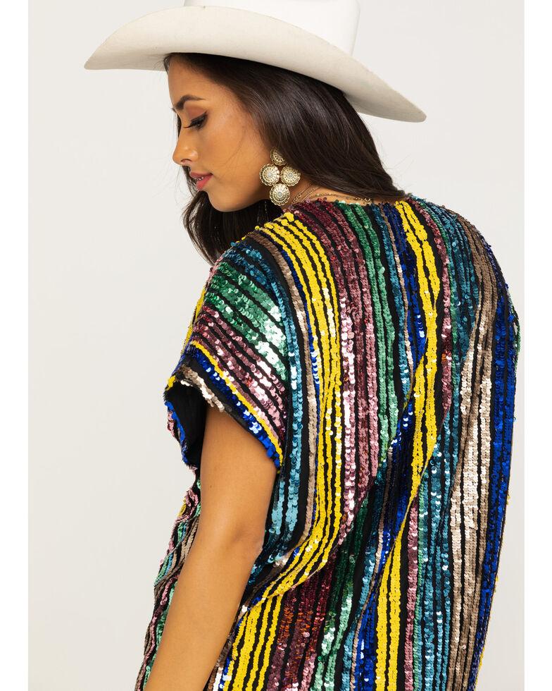 By Together Women's Multi Stripe Short Sleeve Sequin Dress, Multi, hi-res