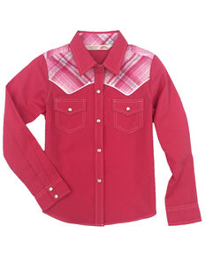 Cumberland Outfitters Toddler Girls' Plaid Yoke Long Sleeve Western Shirt , Pink, hi-res