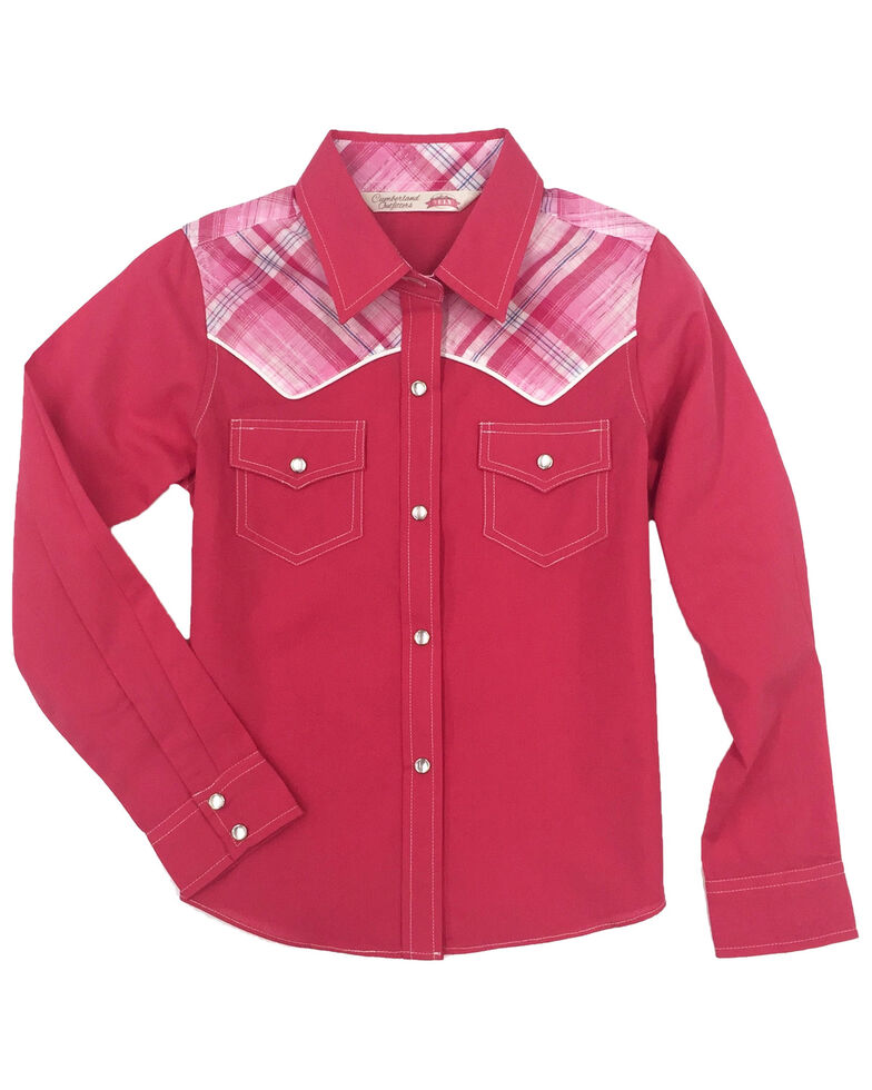 Cumberland Outfitters Toddler Girls' Plaid Yoke Long Sleeve Western Shirt , Pink, hi-res