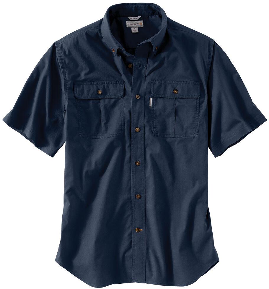 Carhartt Men's Navy Foreman Solid Short Sleeve Work Shirt, Navy, hi-res