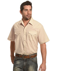 Ely Walker Men's Short Sleeve Solid Western Shirt , Khaki, hi-res