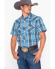 Rock & Roll Cowboy Men's Crinkle Plaid Snap Short Sleeve Western Shirt , Blue, hi-res