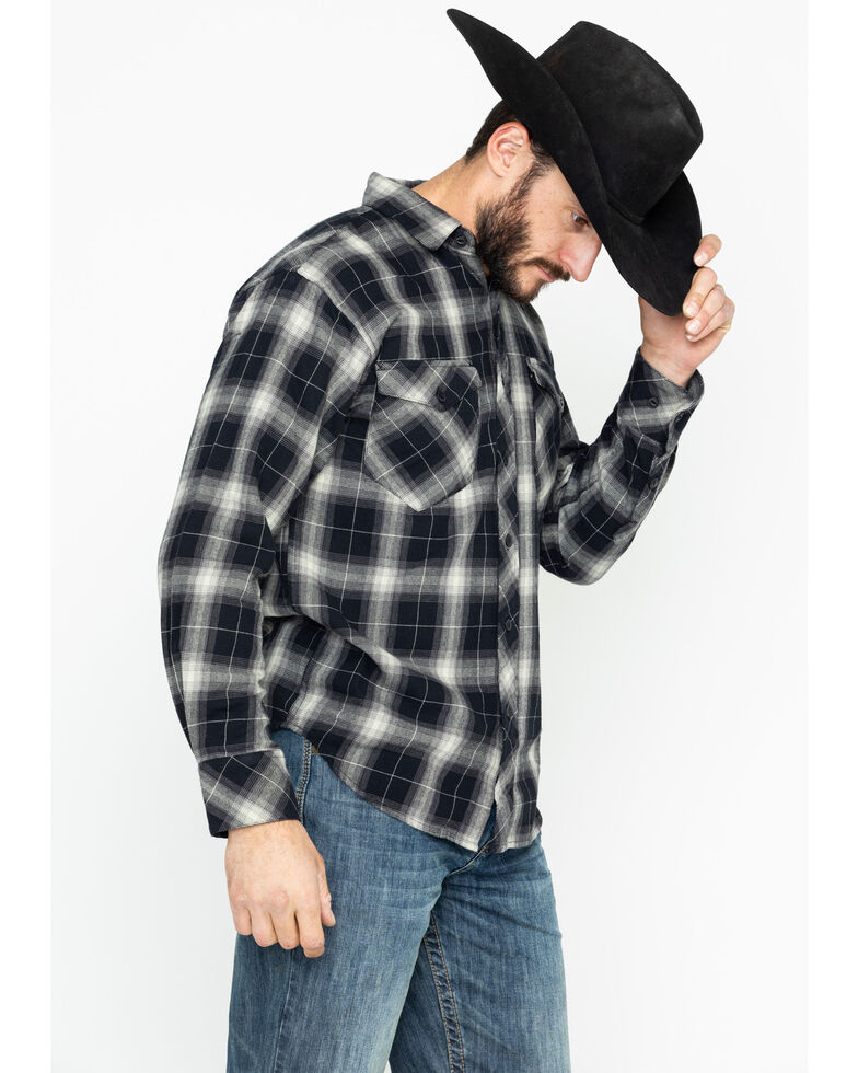 Resistol Men's Knight Plaid Long Sleeve Western Shirt , Black, hi-res