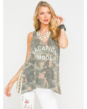 Miss Me Women's Green Camo Vacation Mode Tank, Camouflage, hi-res