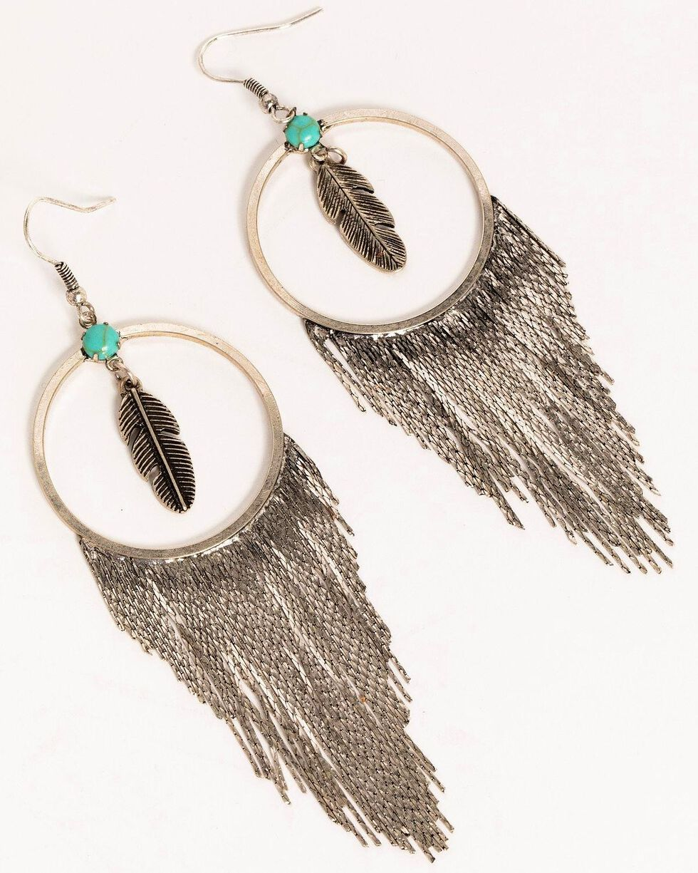 Idyllwind Women's Feelin' Fringe Hoop Earrings, Silver, hi-res