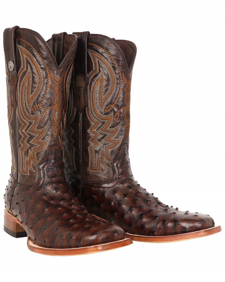 Tanner Mark Men's Ostrich Print Western Boots - Square Toe, Brown, hi-res
