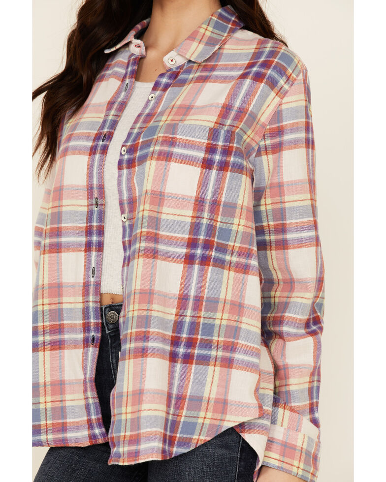 Flag & Anthem Women's Lydia Multi Plaid Long Sleeve Button-Down Western Core Shirt , Pink, hi-res