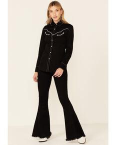Rock & Roll Denim Women's Howdy Ya'll Embroidered Retro Long Sleeve Snap Western Core Shirt , Black, hi-res