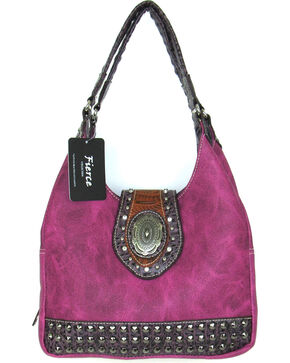 Savana Women's Fierce Concho and Croco Trim Conceal Carry Handbag, Hot Pink, hi-res
