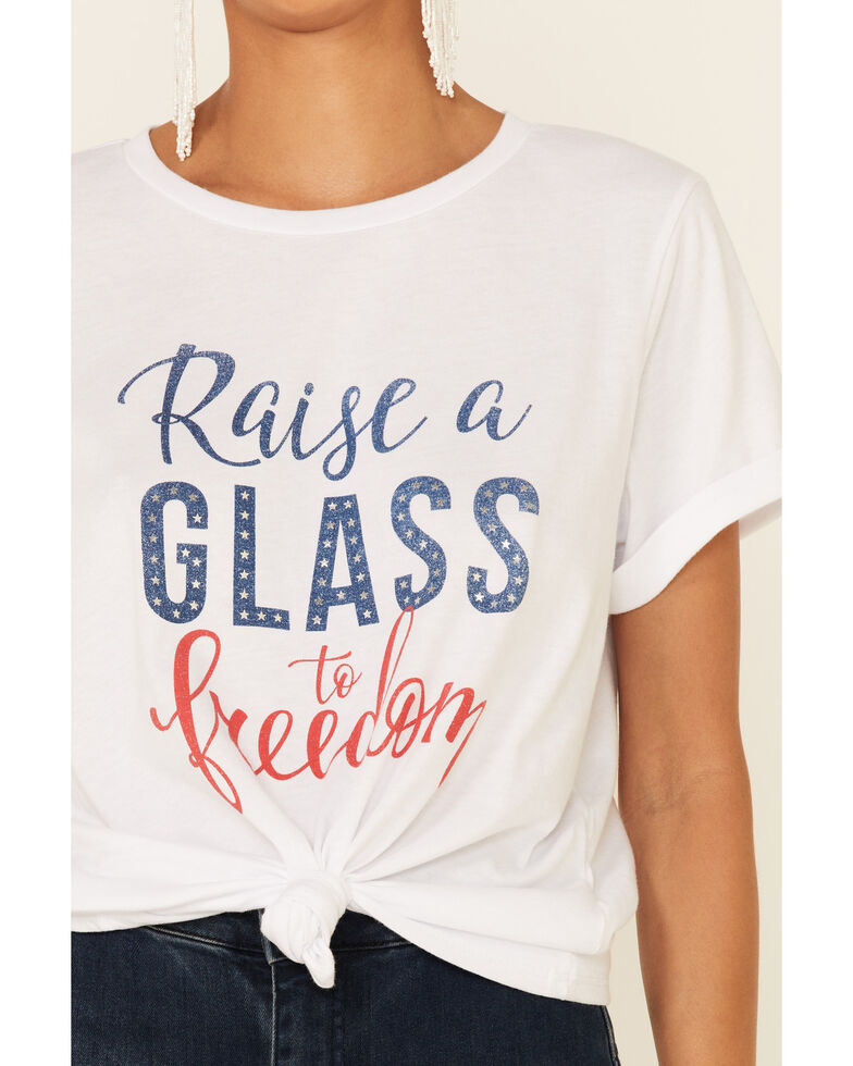 Cut & Paste Women's Raise A Glass To Freedom Graphic Short Sleeve Tee , Ivory, hi-res
