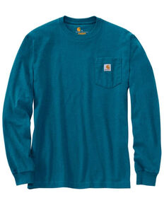 Carhartt Men's Ocean Blue Heather Pocket Long Sleeve Work T-Shirt , Grey, hi-res