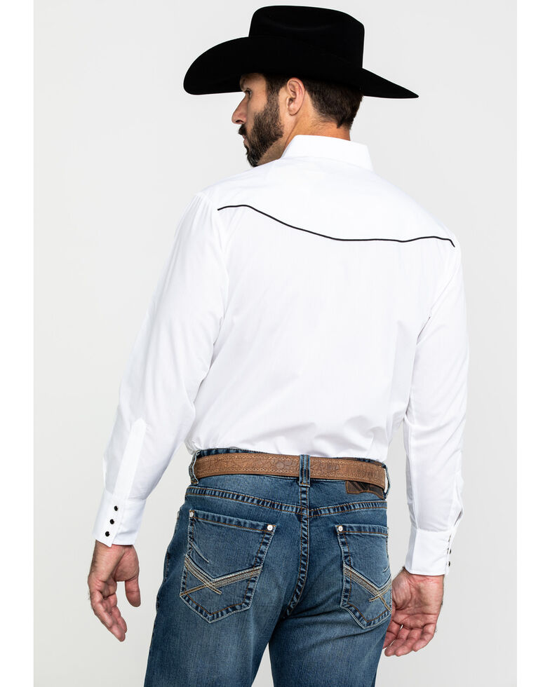 Ely Cattleman Men's White Solid Retro Embroidered Eagle Long Sleeve Western Shirt , White, hi-res
