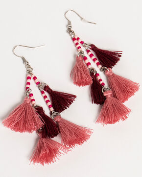 Shyanne Women's Guadalupe Beaded Tassel Earrings, Pink, hi-res