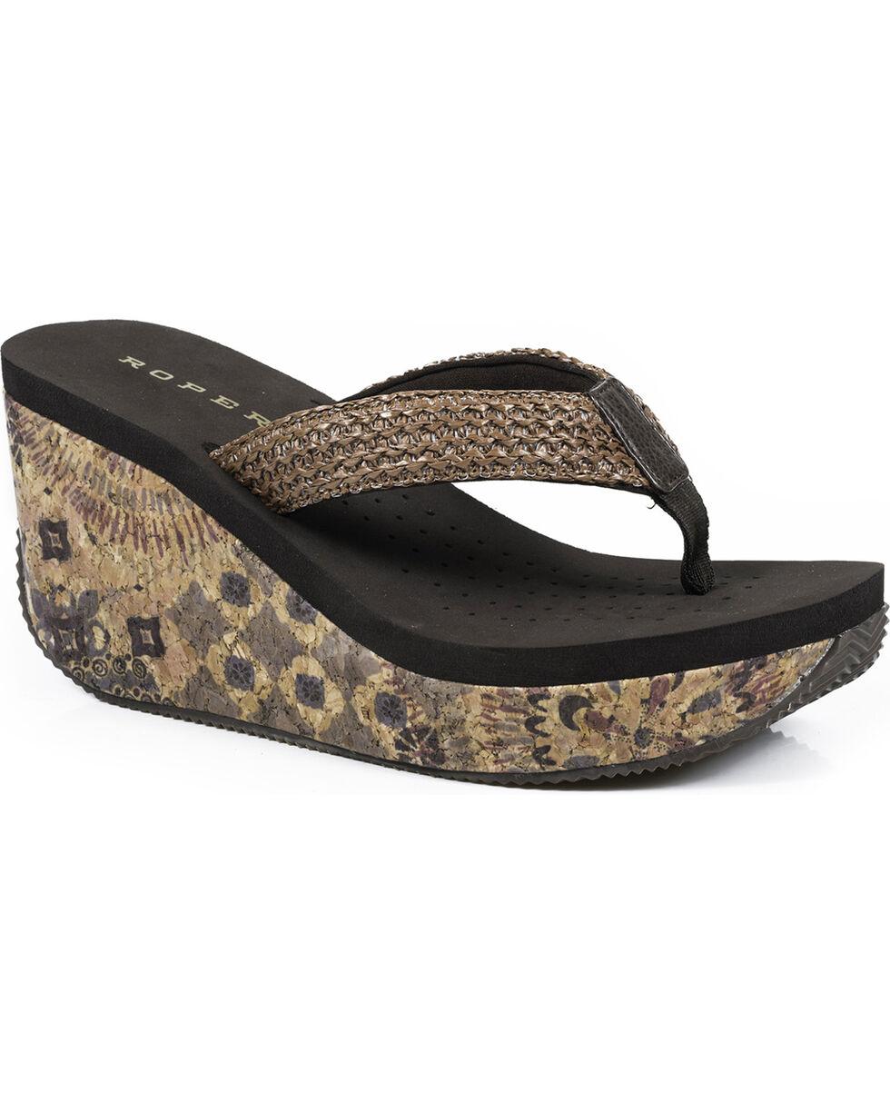 Roper Women's Brown Cork Wedge Sandals , Brown, hi-res