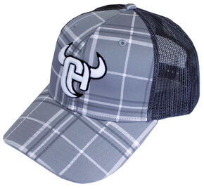 Cowboy Hardware Logo Plaid Trucker Cap, Grey, hi-res