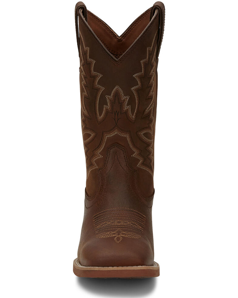Justin Men's Tallyman Brown Western Boots - Wide Square Toe, Brown, hi-res